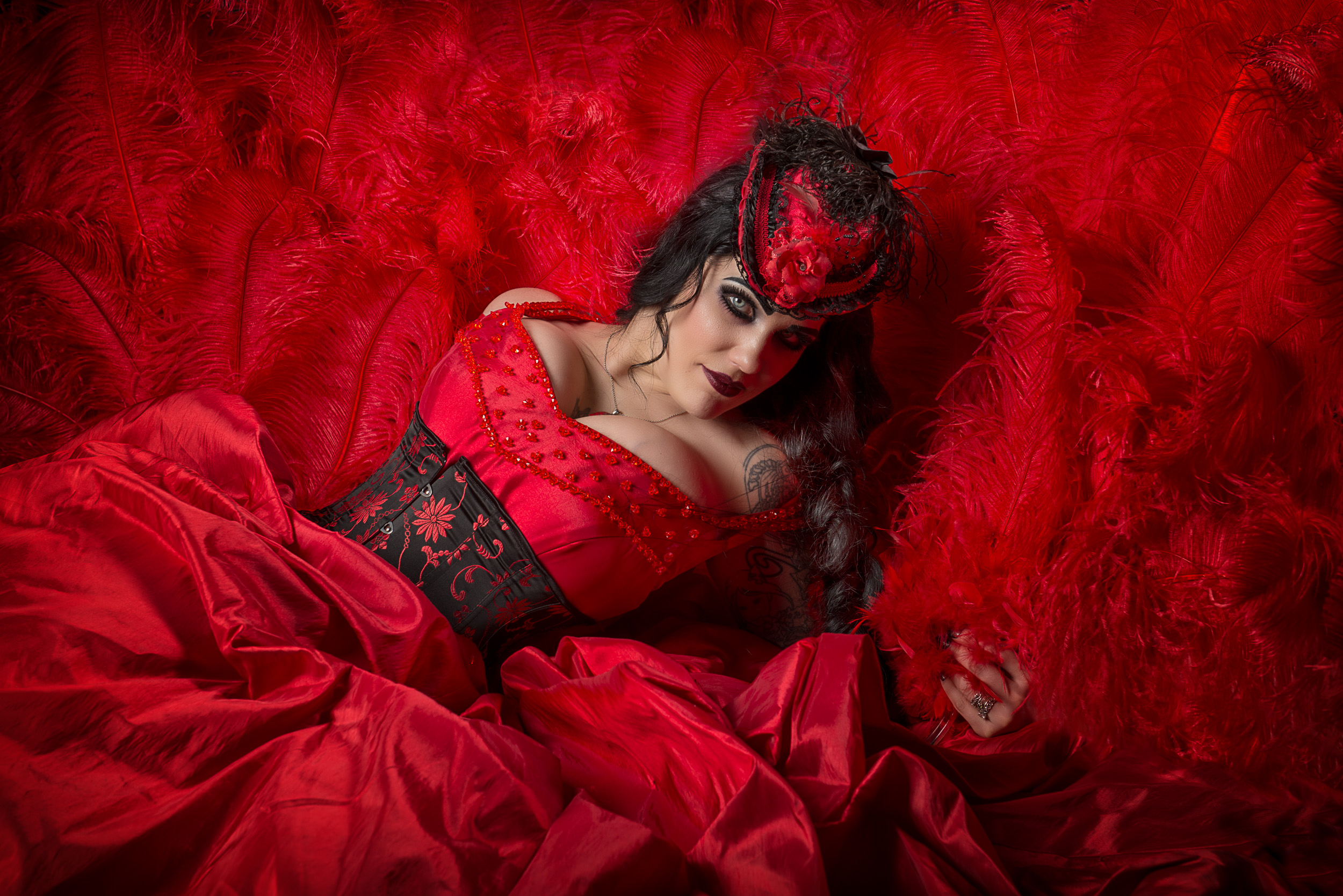Seeing Red - Studio session with burlesque dancer Contessa Oblivion, photographed by Paul Davis Photography, Tucson, Arizona.