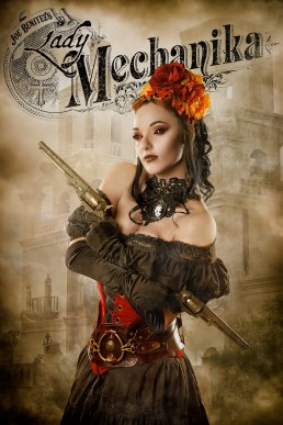 Lady Mechanika - a steampunk themed comic book character created by comic artist Joe Benitez. Photographed by Paul Davis Photography, based out of Tucson, Arizona