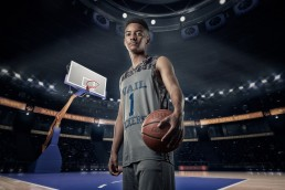 Basketball themed senior portrait created by Paul Davis Photography, Tucson, Arizona.