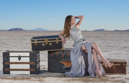 Fashion editorial shot for Tucson clothing designer Esteban on the Wilcox Playa by Paul Davis Photography, Tucson, Arizona