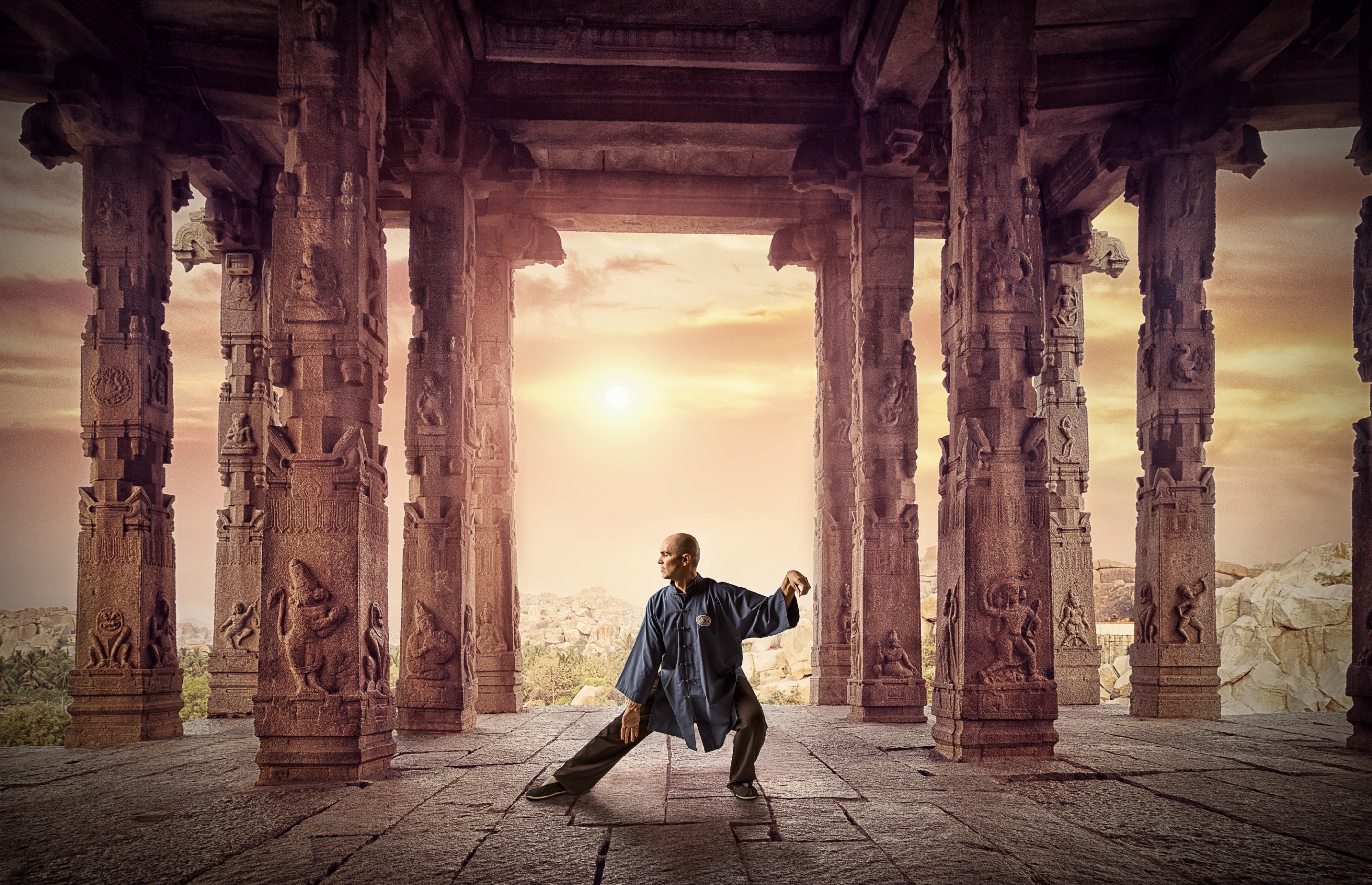Tai Chi composite photography in temple ruins photographed by Paul Davis Photography, Tucson, Arizona.