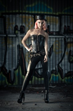Bella Romeo wearing hat and belt by Subverse Industries. Photographed by Paul Davis Photography