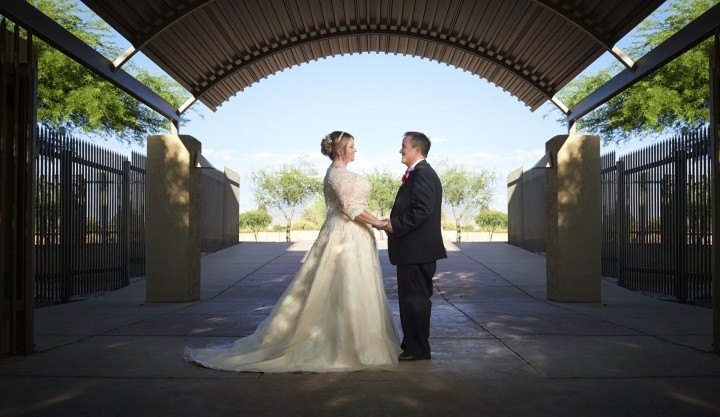 Wedding portraits of Burgess and Devonne at Pantano Christian Church in Tucson Arizona, photographed by Paul Davis Photography.