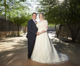 Wedding portraits of Burgess and Devonne Weaver at Pantano Christian Church in Tucson Arizona, photographed by Paul Davis Photography.