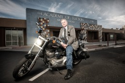 Environmental portrait of award winning history teacher, Richard Moore on his beloved Harley Davidson.