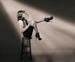 Fashion studio portrait session with Ashley M. photographed by Paul Davis Photography, Tucson Arizona.