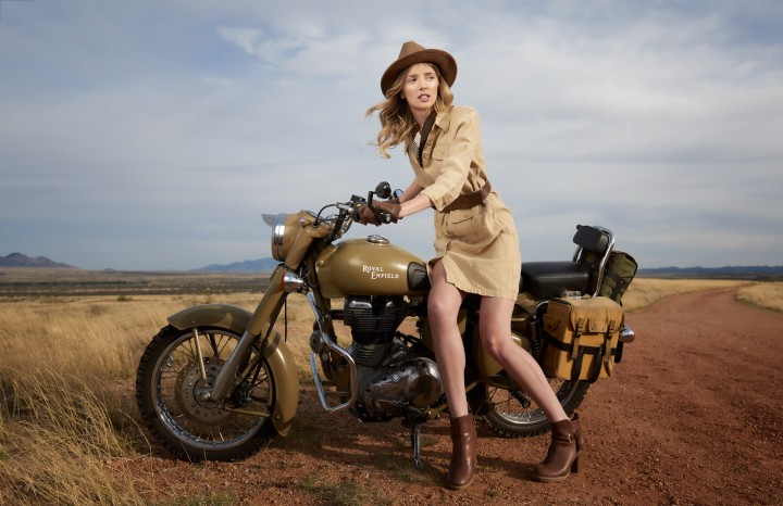A fashion editorial shot for Elegant Magazine on location at Empire Ranch featuring motorcycles by Royal Enfield USA. Photographed by Paul Davis Photography, Tucson Arizona.
